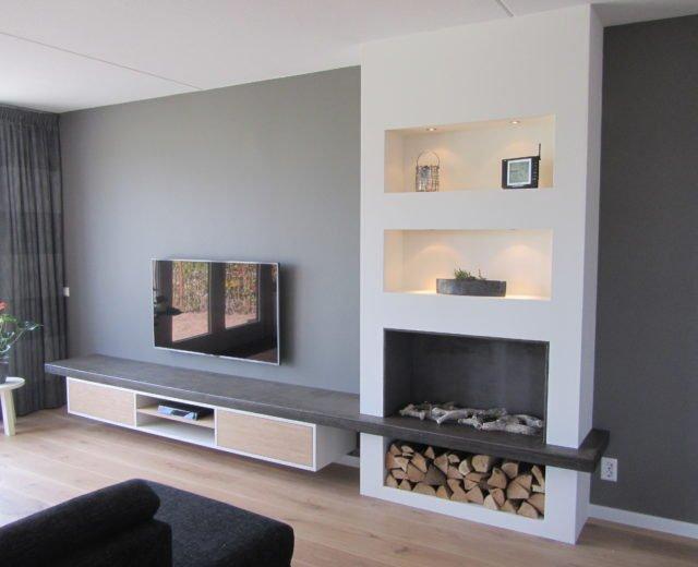 TV meubel met geu00efntegreerde haard