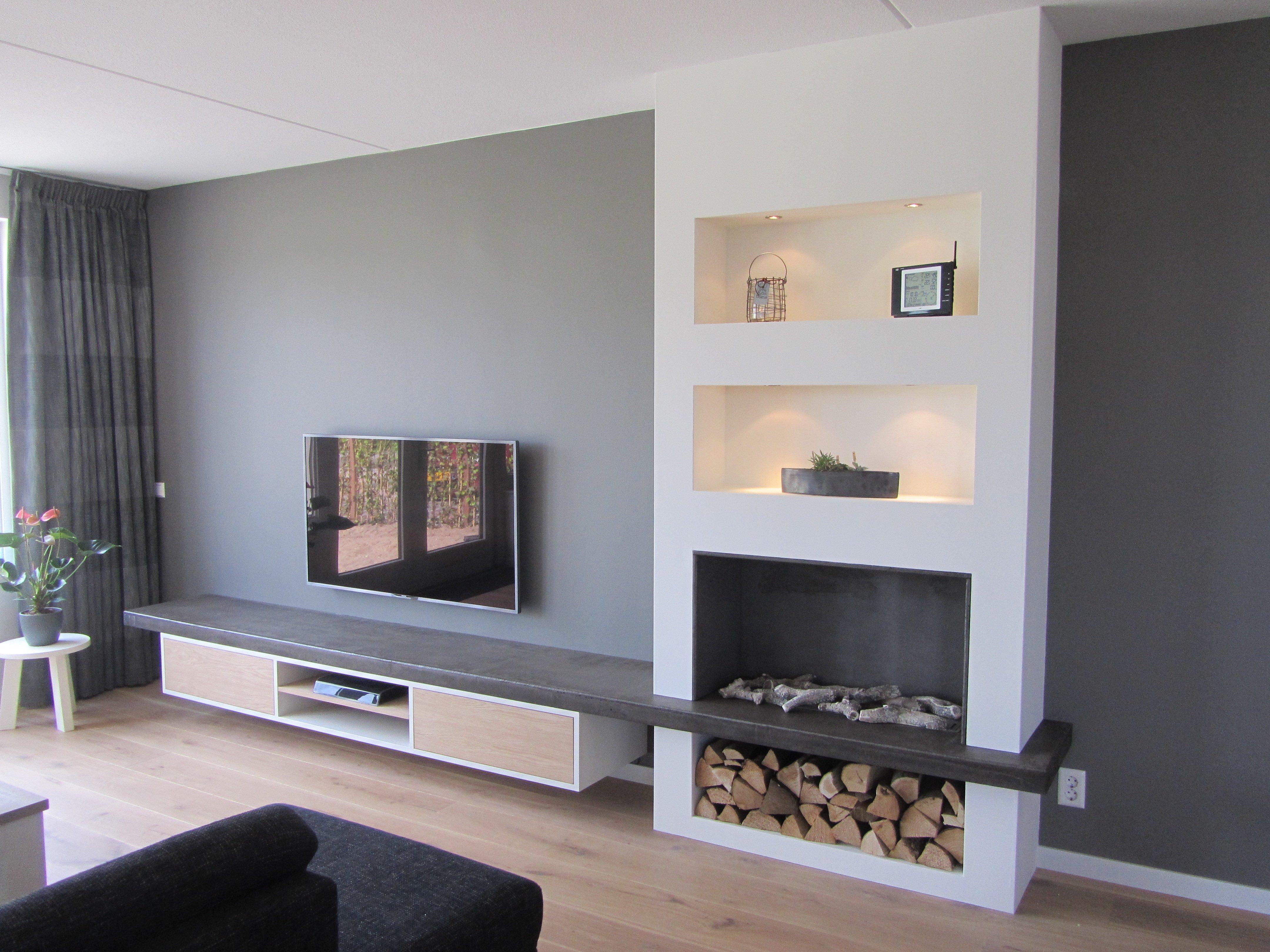 TV meubel met geïntegreerde haard – Jasper Badoux